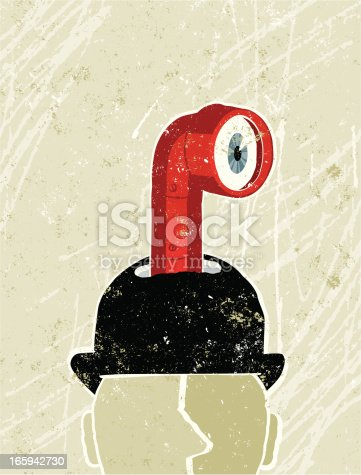 UP Periscope! A stylized vector cartoon of a Businessman's Hat with a Periscope Peering out, reminiscent of an old screen print poster and suggesting looking, spying, covert, look up, look ahead, forward thinking, industrial espionage. Periscope,Man, hat, paper texture, and background are on different layers for easy editing. Please note: clipping paths have been used, an eps version is included without the path.