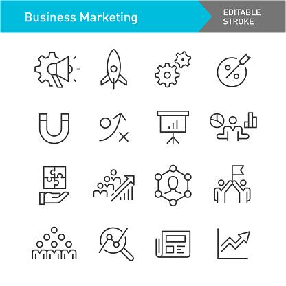 Business Marketing Icons Set - Line Series - Editable Stroke