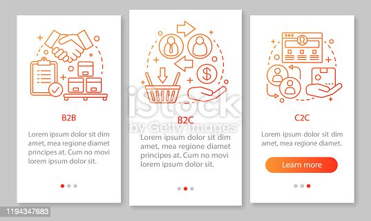 Business marketing mobile app page screen vector template. B2B, B2C, C2C business. Walkthrough website steps, linear illustrations. Seller and customer interaction. UX, UI smartphone interface concept