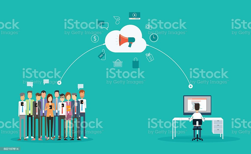 business marketing online concept vector art illustration