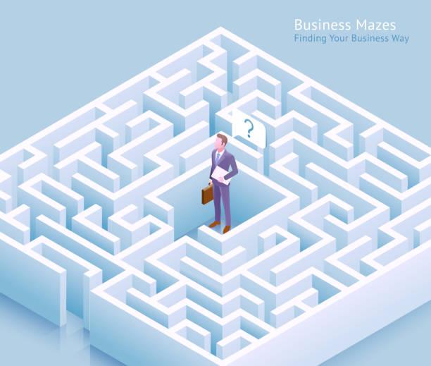 Geschäftslabze konzeptionelles Design. Geschäftsmann steht am Labyrinth und denkt daran, einen Ausweg aus der Vektorillustration zu finden. – Vektorgrafik