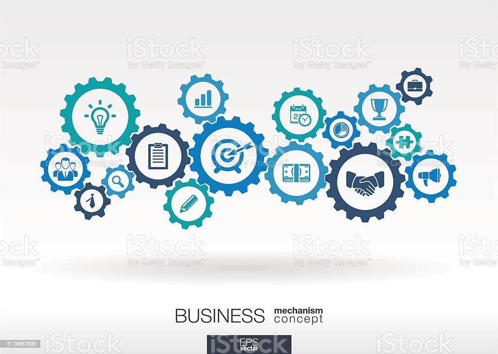 Concepto de mecanismo de negocios ilustración de concepto de mecanismo de negocios y más vectores libres de derechos de abstracto libre de derechos