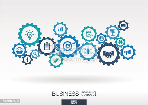 Abstract background with connected gears and icons for strategy, service, analytics, research, seo, digital marketing, communicate concepts. Vector infographic illustration