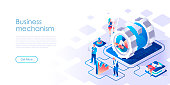 Business mechanism isometric landing page vector template. Workflow management, development website homepage UI illustration layout. Technical support, maintenance web banner isometry concept