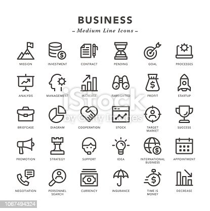 Business - Medium Line Icons - Vector EPS 10 File, Pixel Perfect 30 Icons.