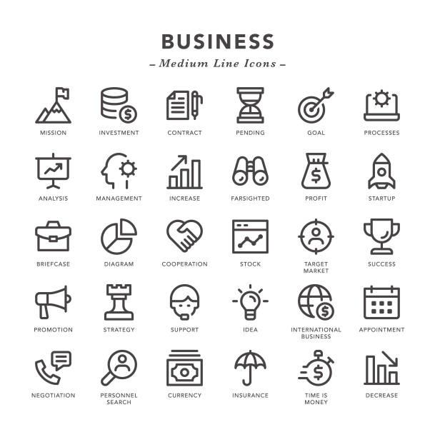 ilustraciones, imágenes clip art, dibujos animados e iconos de stock de negocios - los iconos de la línea media - misión