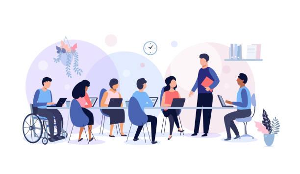 illustrazioni stock, clip art, cartoni animati e icone di tendenza di riunione di lavoro e lavoro di squadra. - focus group