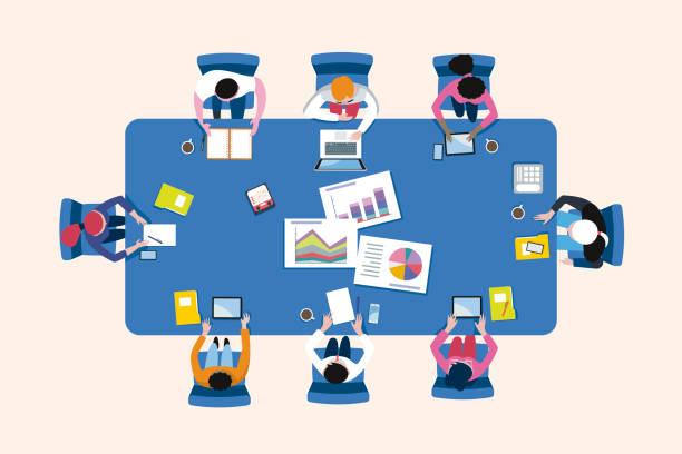 illustrazioni stock, clip art, cartoni animati e icone di tendenza di riunione di lavoro arround a conference table in una vista dall'alto - business meeting, table view from above