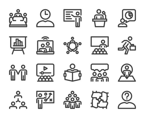 Business Meeting - Bold Line Icons vector art illustration