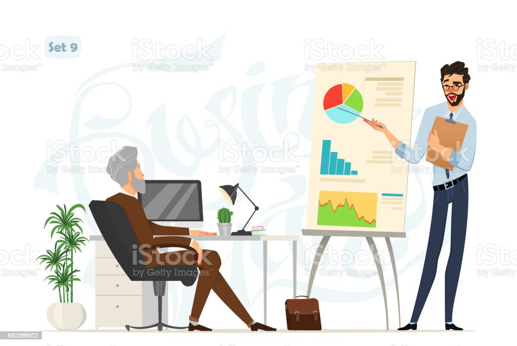 Business meeting. Boss and worker. Worker explains some project results on the board. office style. Business characters with expressions vector art illustration