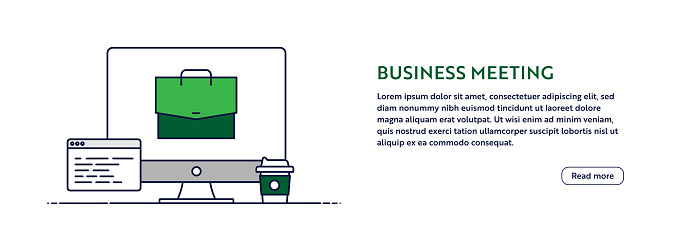 Business Meeting Concept with Line Computer Illustration. Minimal Design for Web Banner, Poster, Flyer and Brochure Template with Briefcase Icon.