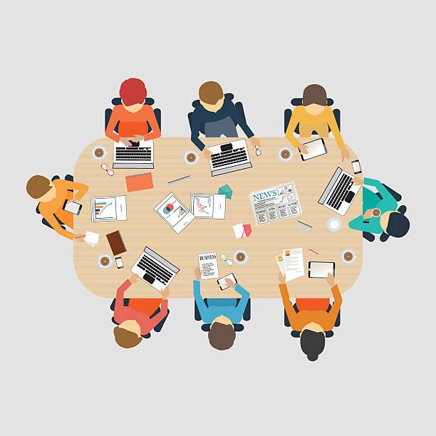illustrazioni stock, clip art, cartoni animati e icone di tendenza di riunione d'affari design. - business meeting, table view from above