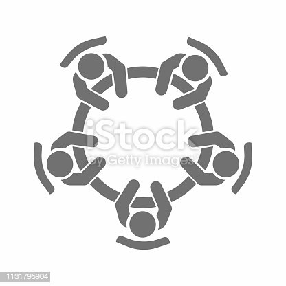 Business meeting, discussion. Teamwork activity. People around the table. Vector illustration