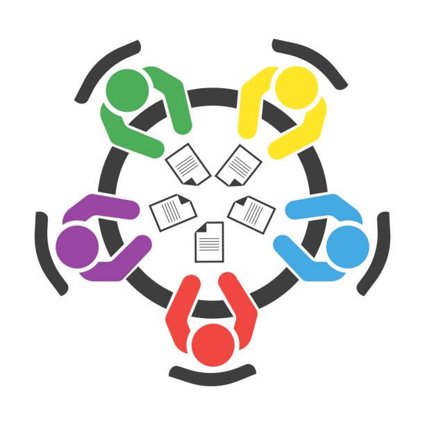 business meeting, diskussion. teamwork tätigkeit. menschen am tisch. vektorabbildung - aktivitäten und sport stock-grafiken, -clipart, -cartoons und -symbole