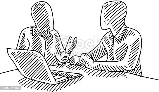 istock Business Meeting Drawing 1137257441