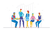 Business meeting - flat design style colorful illustration on white background. A composition with cute characters, office workers or businessmen sitting together at the table. Brainstorm concept