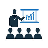 Business meeting, group, presentation icon, vector graphics for various use.