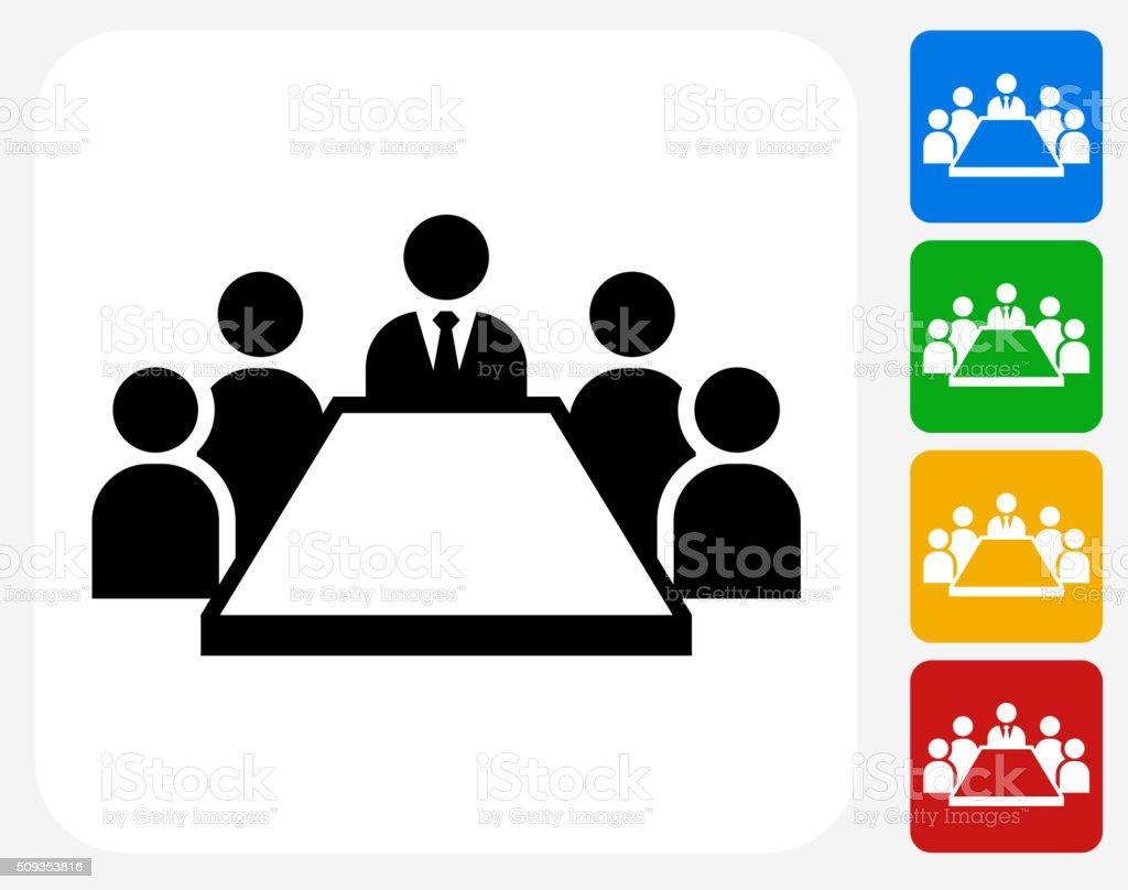 Business Meeting Icon Flat Graphic Design vector art illustration