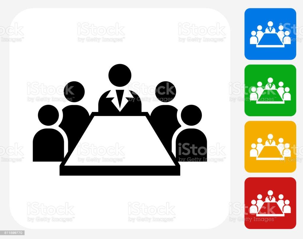 Réunion d'affaires icônes graphiques plates - Illustration vectorielle