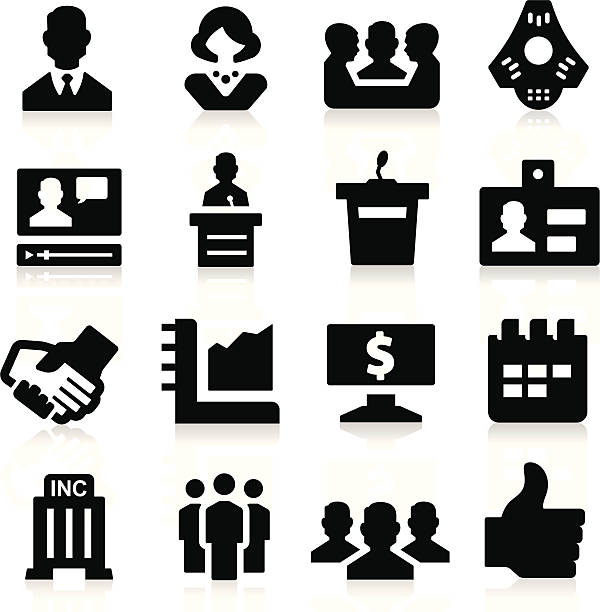Business & Meeting Icons simplified but well drawn Icons, smooth corners no hard edges unless it's required,  conference phone stock illustrations