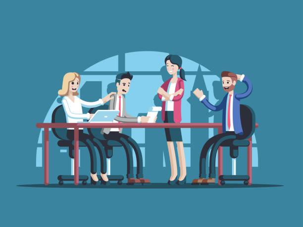 ビジネスミーティングイラストレーション - オフィスワーク点のイラスト素材/クリップアート素材/マンガ素材/アイコン素材