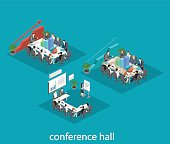 Business meeting in an office Business presentation meeting in an office around a table. Isometric flat interior