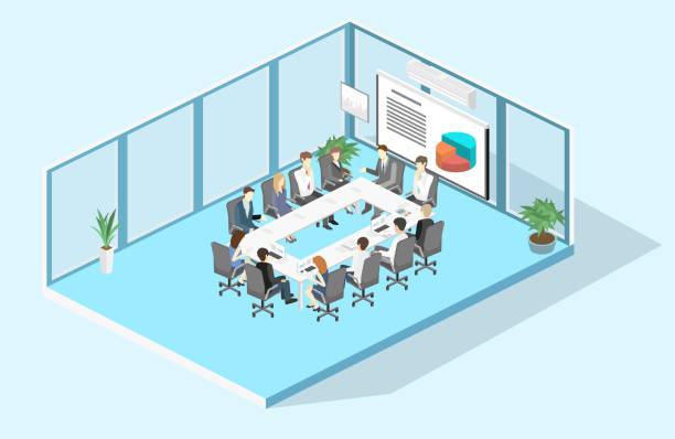 オフィス事業説明会開催等尺性インテリアでのビジネス会議 - 会議室点のイラスト素材/クリップアート素材/マンガ素材/アイコン素材