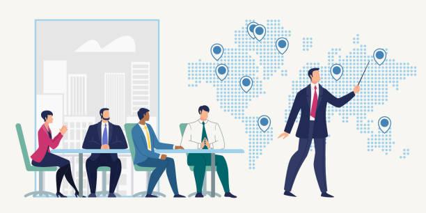 ilustraciones, imágenes clip art, dibujos animados e iconos de stock de reunión de negocios en el concepto de vector de la oficina de la empresa - suministros escolares