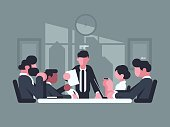 Business meeting in office. Meeting of shareholders of company. Vector illustration