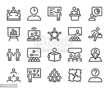 Business Meeting Line Icons Vector EPS File.
