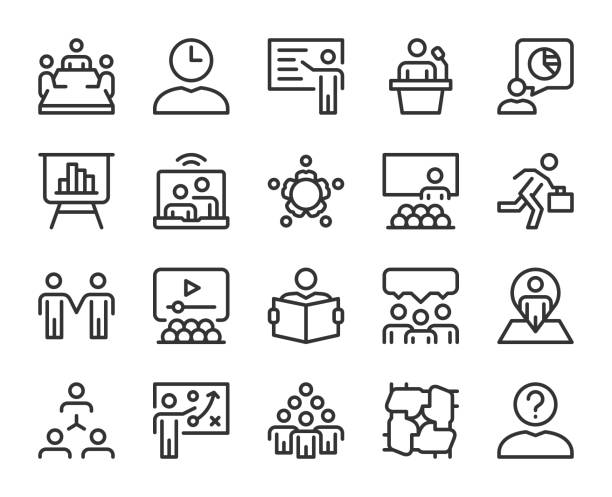 Business Meeting - Line Icons Business Meeting Line Icons Vector EPS File. community icons stock illustrations