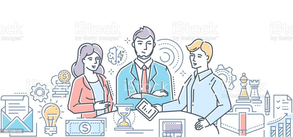 Business meeting - modern line design style illustration vector art illustration