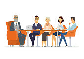 Business Meeting - modern vector cartoon characters illustration