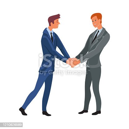 Business meeting of two office men shaking hands. Workplace communication concept. Isolated vector icon illustration on white background in cartoon style.