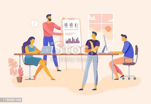 Business meeting. Office team skills presentation, company management and teamwork planning. Executive training or it meeting conference. Business industry vector illustration