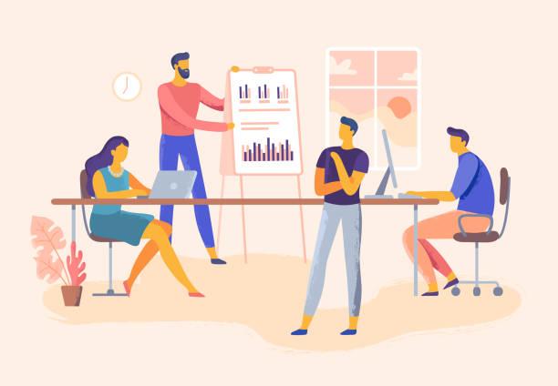 商務會議。辦公室團隊技能介紹、公司管理和團隊合作規劃向量說明 - 插圖 幅插畫檔、美工圖案、卡通及圖標