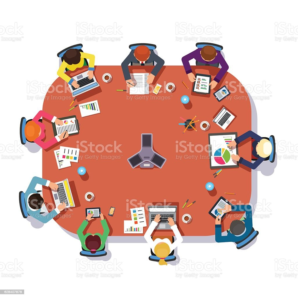 Business meeting over a big conference desk vector art illustration