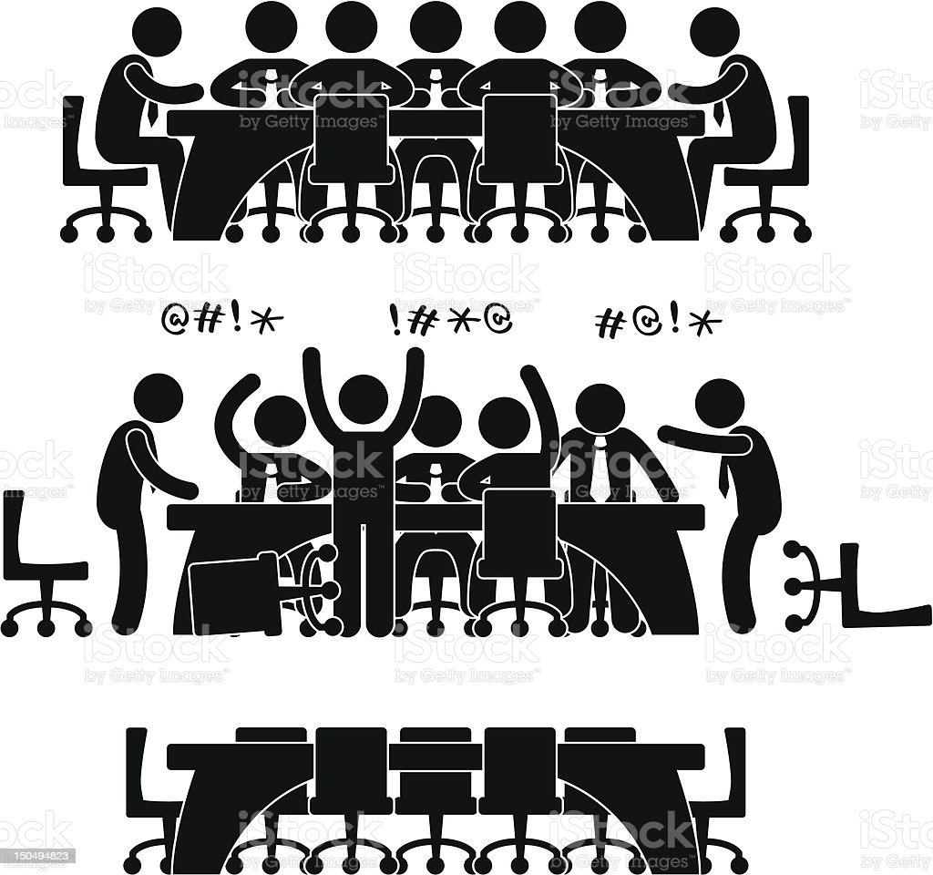 Business Meeting Pictogram vector art illustration