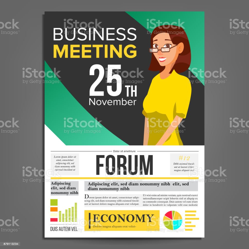 Business Meeting Poster Vektor Businessfrau Einladung Und Datum ...