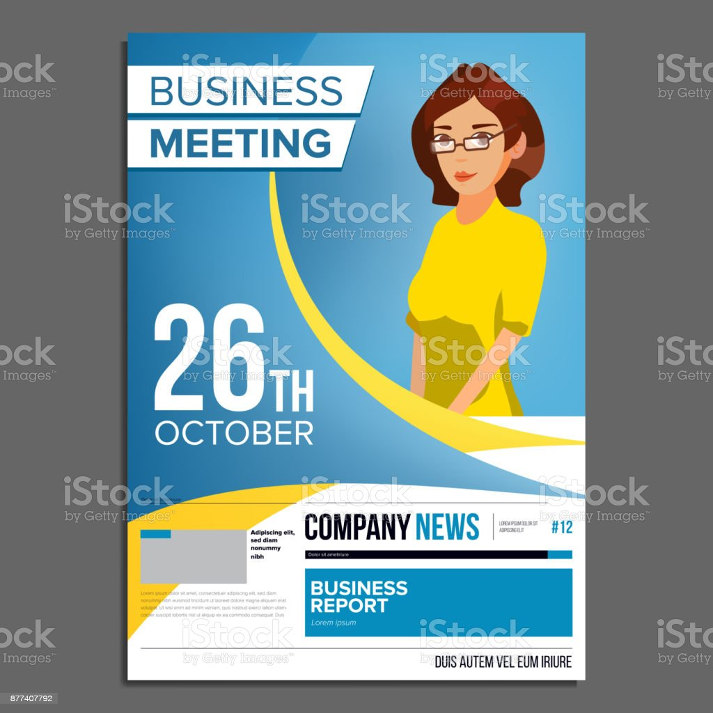 Business meeting poster vector business woman invitation for business meeting poster vector business woman invitation for conference forum brainstorming stopboris Image collections