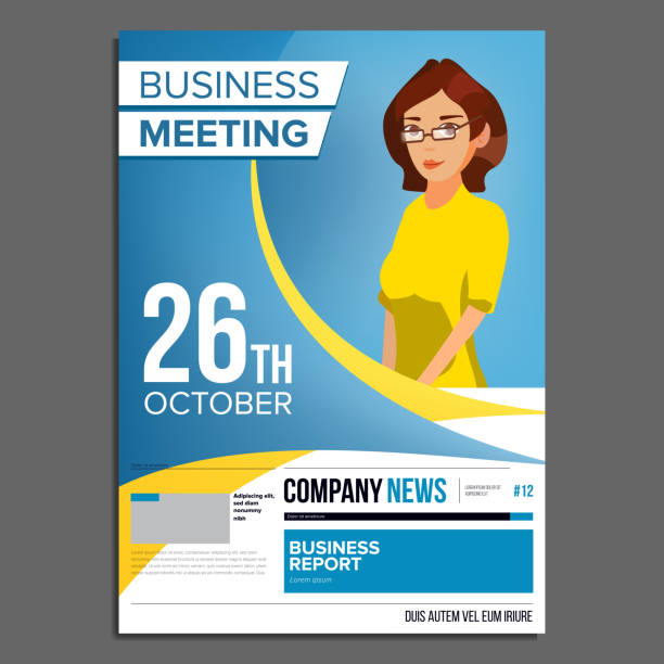 royalty free business people meeting poster template clip art