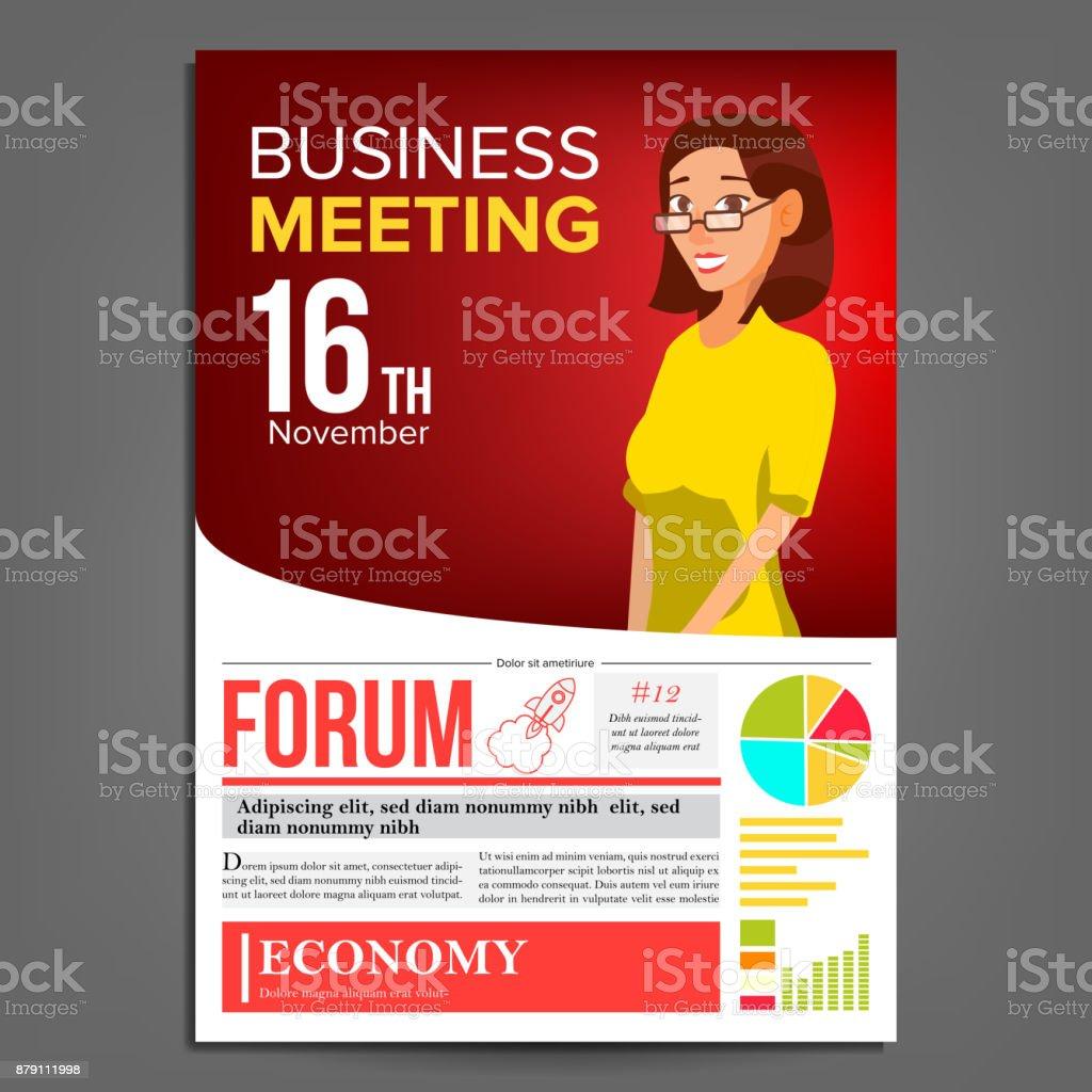 Negocios Reunión Cartel Vector Mujer De Negocios Diseño De Página ...
