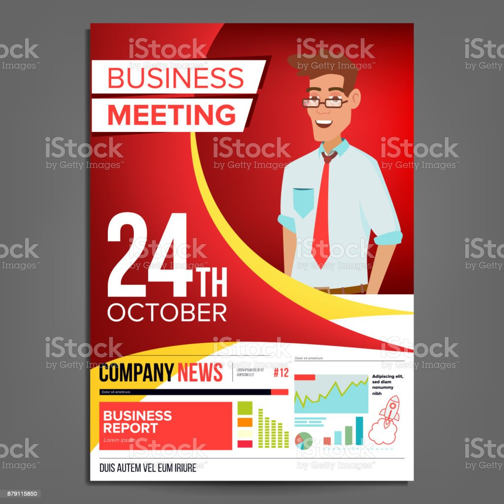 Business meeting poster vector businessman invitation for conference business meeting poster vector businessman invitation for conference forum brainstorming red stopboris Image collections