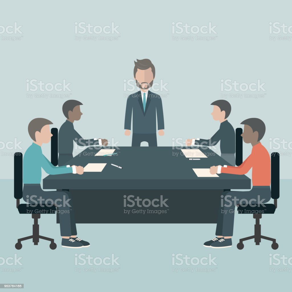 Business meeting, presentation or conference in office. Business people discussing about business plans concept. Flat vector illustration vector art illustration
