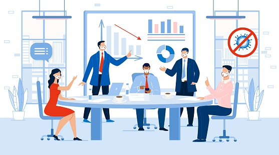 Business Meeting Profit Loss Discussion in Office