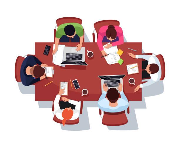 illustrazioni stock, clip art, cartoni animati e icone di tendenza di illustrazione vettoriale colori rgb semi piatta per riunioni di lavoro - business meeting, table view from above