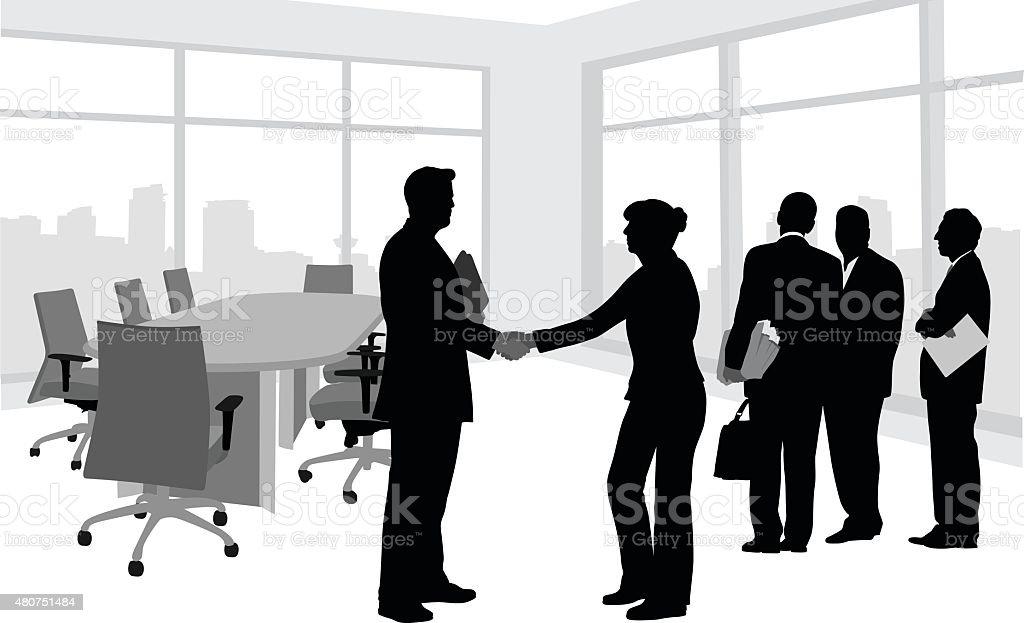 Business Meeting Silhouette Handshake vector art illustration