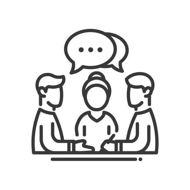 Business meeting single icon Business meeting single isolated modern vector line design icon. Group of people with a speech bubble with dots sign colleague stock illustrations