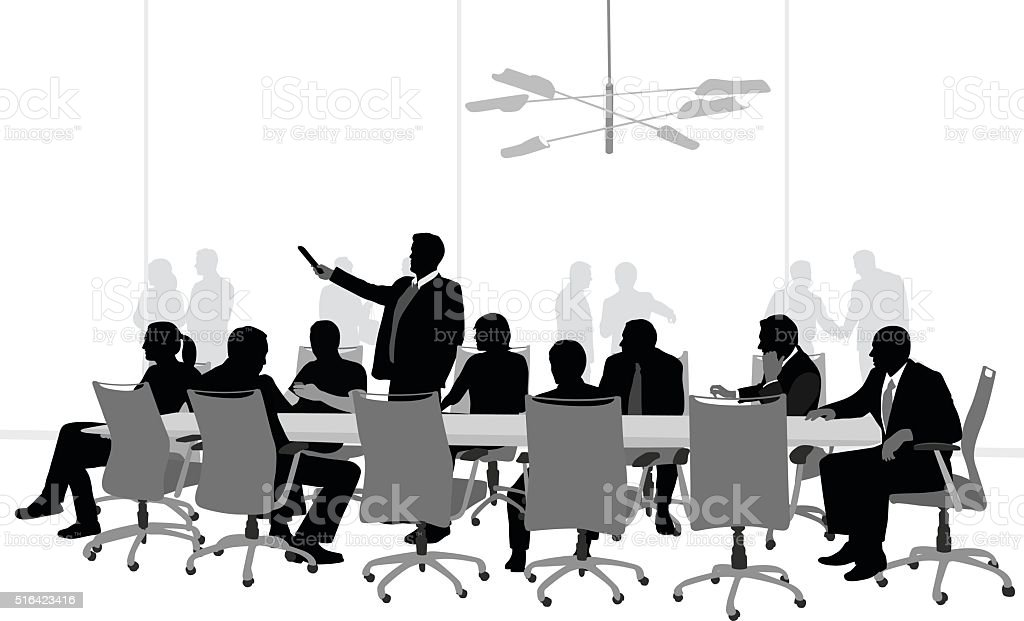Business Meeting Slideshow vector art illustration