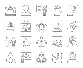 istock Business Meeting - Thin Line Icons 1153212697